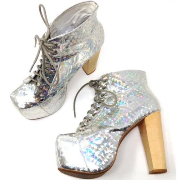 7d20934c154 Jeffrey Campbell Silver Hologram Lita Boots Heels